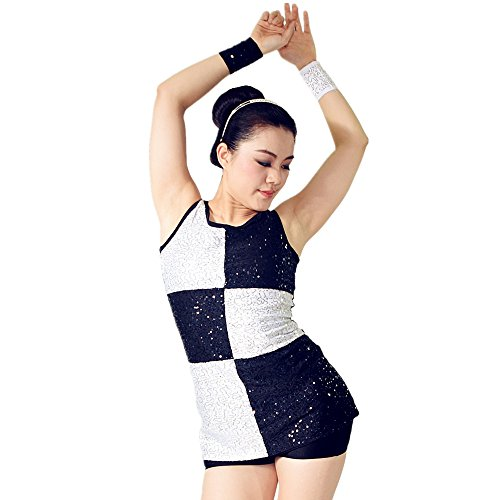 MiDee Black and White Dance Costumes for Jazz And Tap Full Sequins Dance Dress With Black and White Checker (LA, (Cheap Dance Costumes)