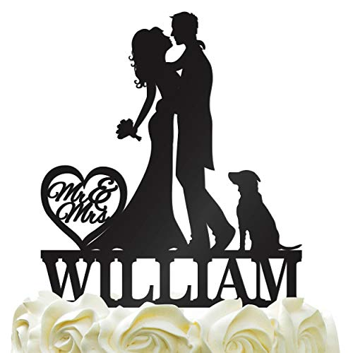 Personalized Bride & Groom Kissing, Hugging Silhouette Wedding Cake Topper - Wedding Cake Decoration Mr-Mrs Heart Last Name With DogColor Acrylic