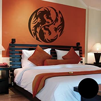 wandtattoo yin yang drache reuniecollegenoetsele. Black Bedroom Furniture Sets. Home Design Ideas