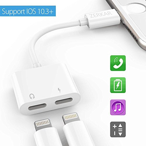 iPhone 7 Adapter & Splitter, Lightning Headphone Audio & Charge Adapter for iPhone 7 / 7 Plus - Calling Function and Music Control,Suport iOS 10.3 and iOS 11(White)ZERKAR