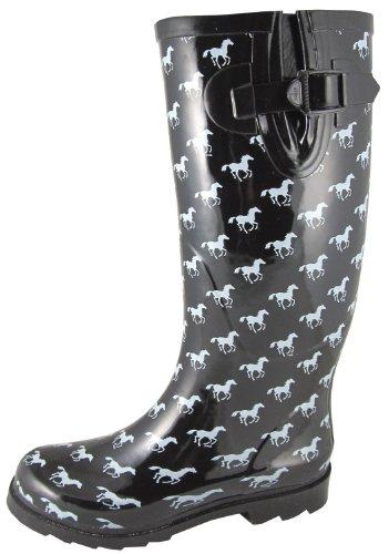Smoky Mountain Ladies Rubber Ponies Boot - Black/White 6 by Smoky Mountain