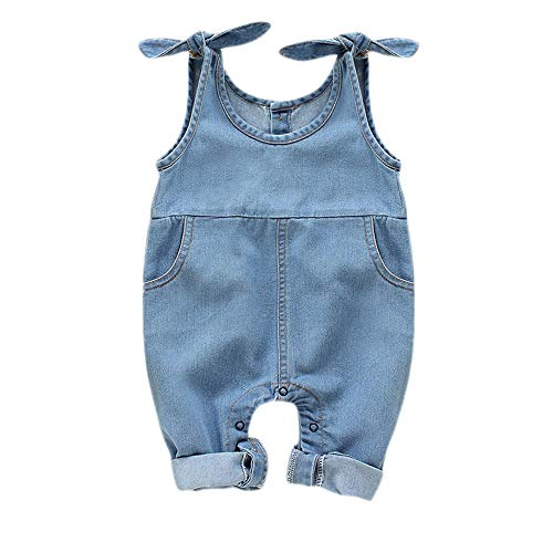 Overalls Pocket Two Denim - Newborn Infant Baby Girls Denim Bodysuit Halter Sleeve Romper with Two Pocket Jeans Overalls (Denim, 9-12 Months)
