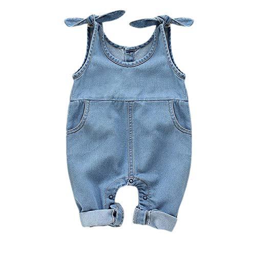 Newborn Infant Baby Girls Denim Bodysuit Halter Sleeve Romper with Two Pocket Jeans Overalls (Denim, 3-6 Months)