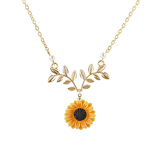 krun Sunflower Pearl Leaf Chain Resin Boho Handmade Drop Pendant Choker Necklace Plated Gold