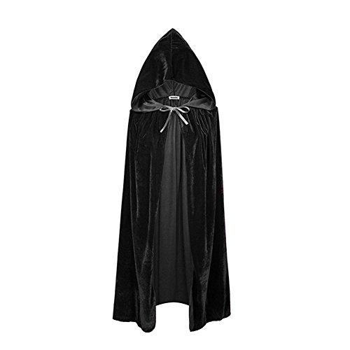 YUJUAN Halloween Witch Cosplay Cloak Queen Cape Costume Black