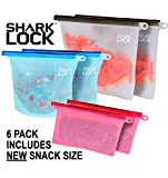 Shark Lock Silicone Food Storage Bag (6 Bags) 2 New 10 Ounce Silicone Snack Bags, 2 Med Reusable Sandwich Bags, 2 Large Reusable Silicone Food Bag, Silicone Storage Bags Reusable