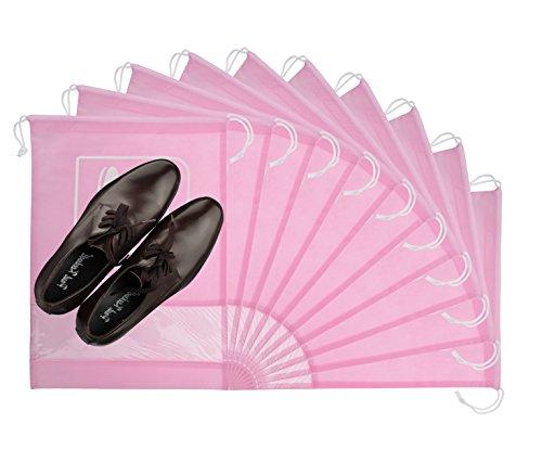 10 Pcs Shoe Bag Pouch Dust-proof Drawstring with Transparent Window Travel Storage Shoe Clothes Bags Organizer Pink