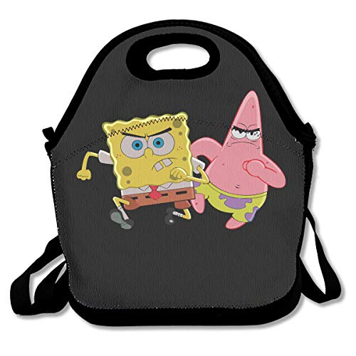 WSXEDC Lunch Bag Patrick Star and Spongebob Printing Handbag with Adjustable Shoulder Strap for Picnic ()
