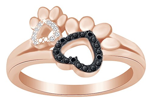 Round Cut White & Black Diamond Paw Print Promise Ring In 14K Rose Gold Over Sterling Silver (0.10 cttw) Ring Size-4.5