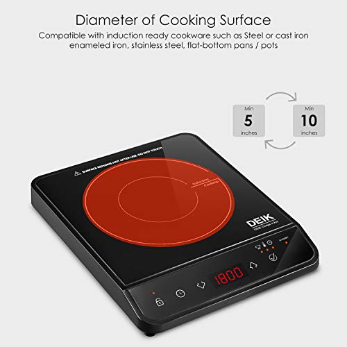 Induction Cooktop, Deik Induction Burner 1800W Sensor Touch with Child Safety Lock, Portable Induction Cooktop with Timer and 10 Temperature Settings, Suitable for Home Kitchen, RV, Boats, Garden by Deik (Image #5)