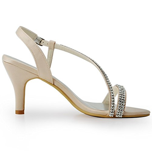 Elegantpark EP11097 Women Open Toe High Heel Rhinestones Satin Prom Evening Sandals Champagne US 10