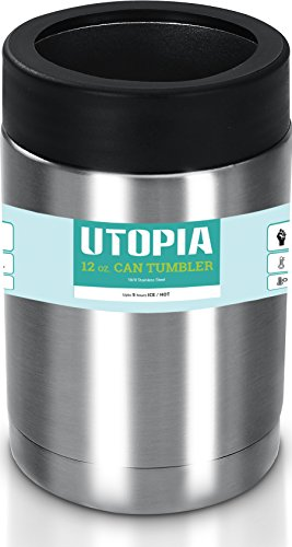 Utopia Home 12 Oz Stainless Steel Double Wall Insulated Can Cooler - No Sweat Exterior - Easy to Clean