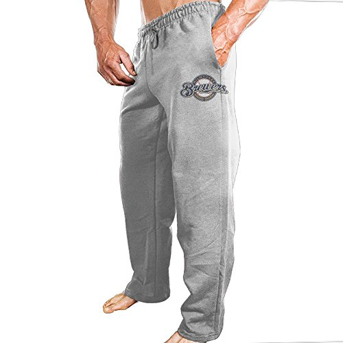 Vinda Men's Workout Pants Milwaukee Baseball Team Ash Size 3X]()