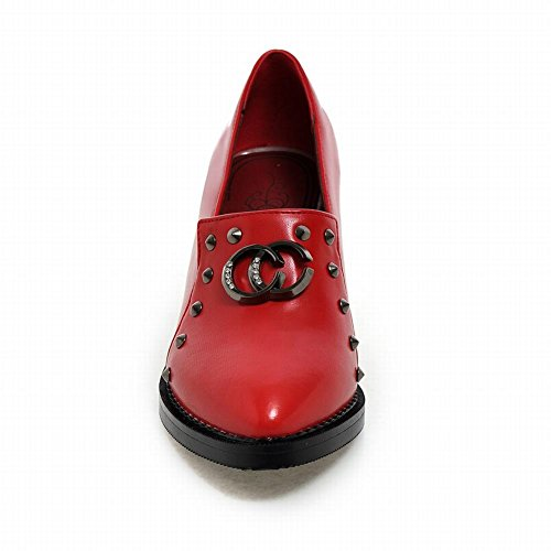 Latasa Womens Chic Retro Studded Chunky Mid-heel Slip-on Loafers Shoes Red 4VFl1Tz