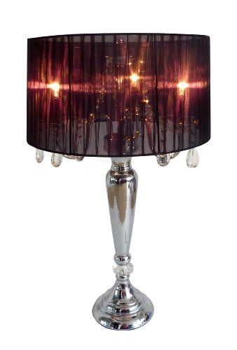 Crystal Drum Shade - Elegant Designs LT1034-BLK Trendy Sheer Table Lamp with Hanging Crystals and Sheer Shade, Black