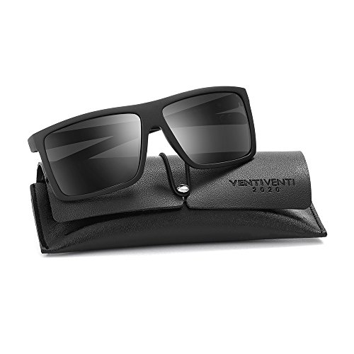 2020Ventiventi Classic Polarized Sunglasses for Men Square Lens Full Frame with Sun Glasses Case UV400 for Driving PL273(C02 Black,Smoke) (For Men Sunglasses Square)