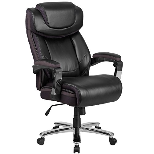 Flash Furniture HERCULES Series Big & Tall 500 lb. Rated Black Leather Executive Swivel Chair with Height Adjustable Headrest