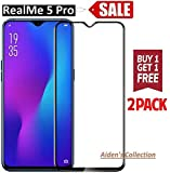 Aiden's Collection 2 Pack 11D Tempered Glass Screen Protector For Realme 5 Pro (Black) Edge to Edge Full Screen Coverage With Easy Cleaning Kit
