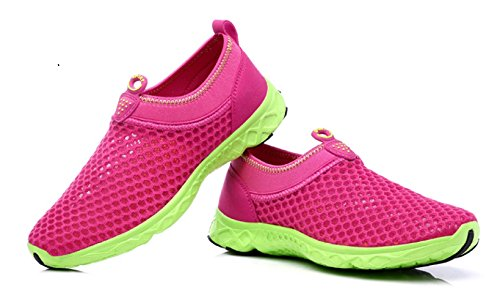 Welltree Womens And Mens Quick Drying Breathable Mesh Lightweight Slip On Aqua Water Shoes Rose Red 7 B M  Us 37