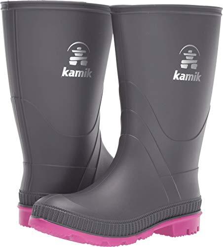 - Kamik Girls' Stomp Rain Boot, Charcoal/Magenta, 4 M US Big Kid