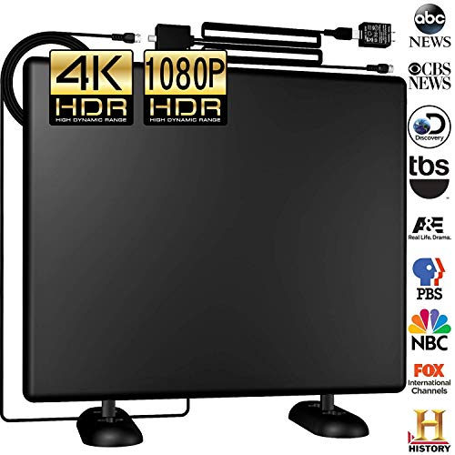 Grell Amplified 120Miles Ultra 4K TV Antenna - Indoor/Outdoor HDTV Antenna with Amplifier Booster Free TV Channels High Reception for VHF/UHF/1080P/4K Digital Antenna Signals 16ft