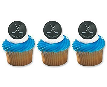 Hockey Puck Ring Cake Cupcake Topper (48-Pack) -
