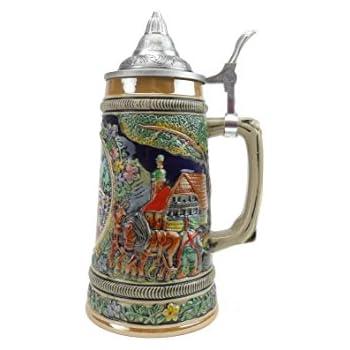 Amazon.com   Beer Stein Oktoberfest Lidded Beer Mug by E.H.G.   .90 Liter: Beer Mugs & Steins
