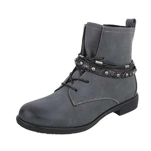 Ital-Design Women's Boots Block Heel Lace-Up Ankle Boots Grey 378-PA QpjAU7krvt