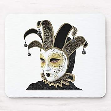 JAMILA Alfombrilla De Ratón Oro y máscara Veneciana de Carnivale del Negro en