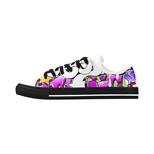 Women's Graffiti Pop Art Action Leather Low-Top Fashion Sneakers Shoes