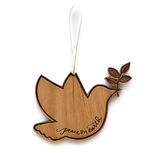 Peace Laser - Peace on Earth Dove Shape Laser Cut Wood Ornament (Christmas/Holiday / Keepsake/Tradition)