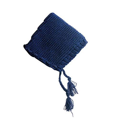 Sombrero de Baby Gorro de Azul sólido Alian Correa bebé Invierno Punto Cono Punto para Gorro Lana Hat Color Invierno bebé 1Txq7pPxn