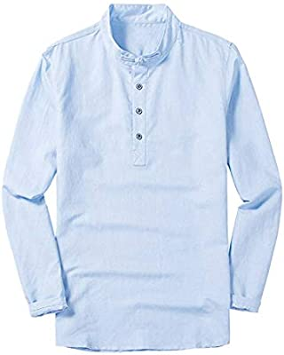 Camisa de manga larga para hombre, de lino, ajustada, sexy, cuello ...