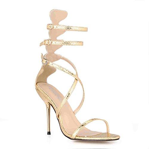 Zapatos Serpiente y 39 Plata Sandalias Mujer Que ZHZNVX fueron Piel Lattice Mujer con Nueva Hierro CD de Banquete Verano Cinturones Interesante Zapatos YZRCqxCwO
