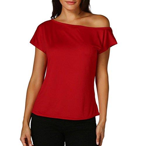 6465a7701c63 JIANGfu Frauen Casual Laides Schulterfrei T-Shirt Kurzarm Casual Tops Bluse  Rot PvWv0