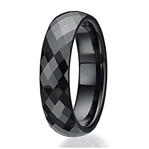 6mm Faceted design Black Ceramic Ring Sizes 9 to 13