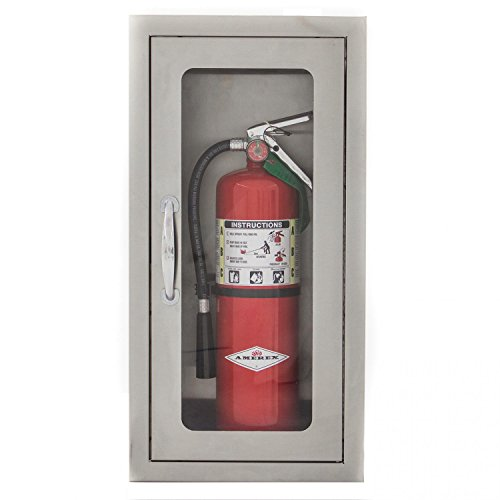 Extinguisher Stainless Steel Cabinets Fire (Bbqguys.com 14-inch Stainless Steel Semi-recessed 10 Lb. Fire Extinguisher Cabinet)