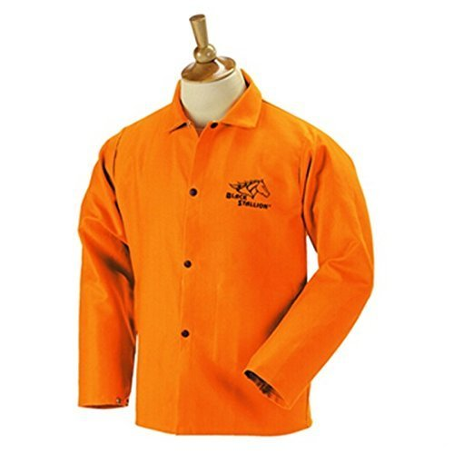 Black Stallion FO9-30C 30' 9oz. Orange FR Cotton Welding Jacket, Mediu