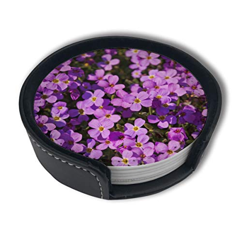 Purple Flower Wallpaper Gallery Coasters for Drinks,PU Leather Coasters with Holder,Protect Furniture from Damage(6PCS) ()
