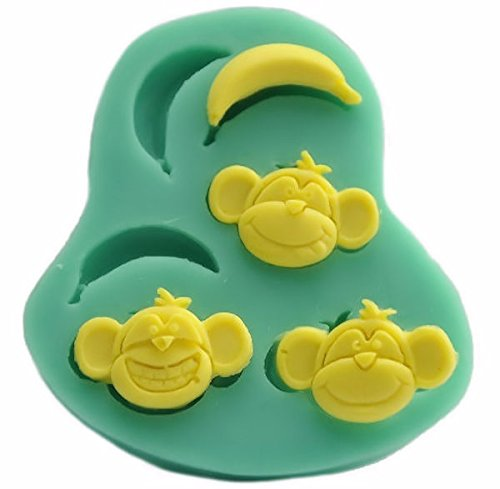 Monkeys & Bananas 6 Cavity Silicone Mold, Candy, Fondant, Cake Decorating 10 Cavities