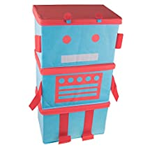 Robot 3 Piece Stacking Collapsibe Organizer Set - Blue and Red