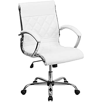 Amazon.com: Flash Furniture Mid-Back Designer White Leather ...