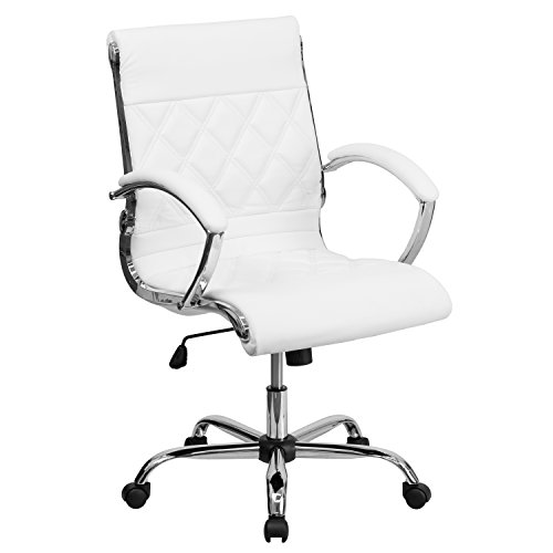 Flash Furniture Mid-Back Designer White Leather Executive Sw