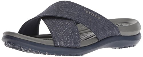 Crocs Women's Capri Shimmer Xband Sandal W Sandal, Navy/Slate Grey, W9 M US by Crocs