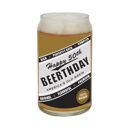 Barstool Philosopher 16-Ounce Beer Can Glass, 50th Beerthday by Santa Barbara Design Studio