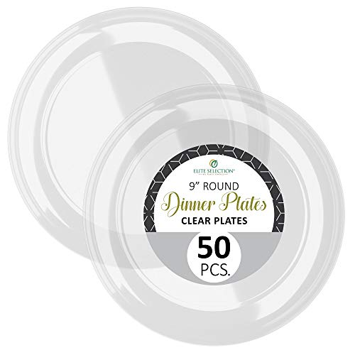 Disposable Clear Plastic Plates - 50 Pack Hard Round 9 Plate for Dinner, Salad, Dessert - Elegant Design for Wedding, Birthday, Party - by Elite Selection