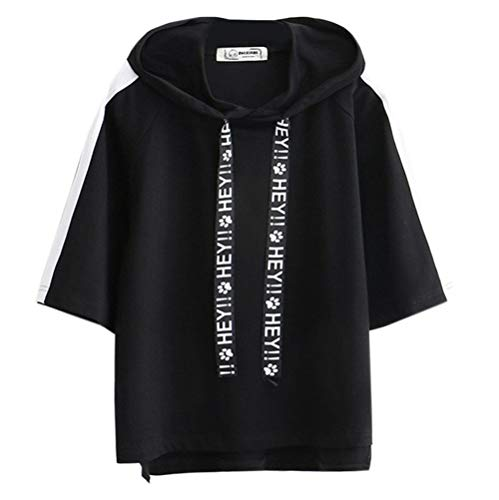 - Fashiononly Harajuku Women Black Hooded Drawstring Solid Streetwear Short Sleeve Cotton T Shirt