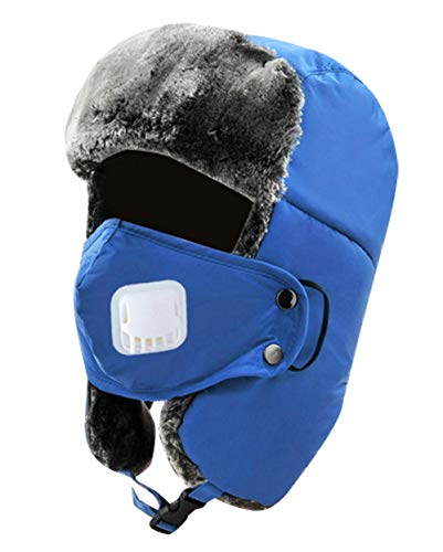 72b9c1c8 AIEOE Men Women Winter Skiing Windproof Hat Fur Ear Flaps Hat with  Breathable Mask Blue Large
