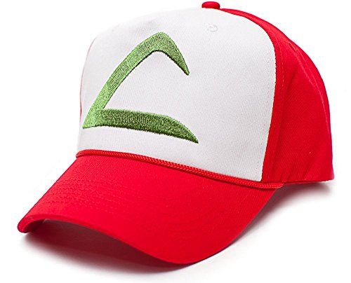 Pokmon Ash Ketchum Embroidered Unisex-adult Hat Cap -One-size Red/white