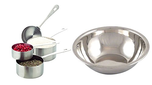 Amco Measuring Cups, Set of 4 with American Metalcraft Mixing Bowl